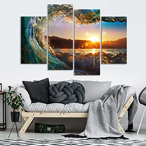 Sunset Wave Canvas Wall Art - Ready to Hang - Lake & Mountains Picture for Adults & Kids - Large Print for Home Office, Living Room, Bedroom, Kitchen, Bathroom - Made in USA - 4 Panel 65