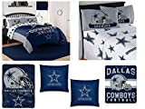 "The Northwest Company NFL Dallas Cowboys ""Monument"" Bedding Set - Includes 1 Full/Queen Comforter, 1 Queen Flat Sheet, 1 Queen Fitted Sheet, 2 Pillowcases,1 Blanket, 1 Throw and 2 toss Pillows"