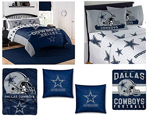 """The Northwest Company NFL Dallas Cowboys """"Monument"""" Bedding Set - Includes 1 Full/Queen Comforter, 1 Queen Flat Sheet, 1 Queen Fitted Sheet, 2 Pillowcases,1 Blanket, 1 Throw and 2 toss Pillows"""