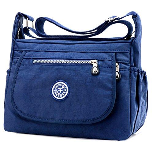 Fueerton Nylon Crossbody Bag Women Multi-Pocket Purse Bag Travel Shoulder handbags Navy blue