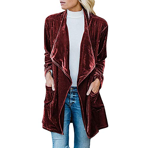 Orangeskycn Women Cardigan Drape Velvet Long Baggy Jacket Open Front Coat with Pockets (Womens Maroon Leather Jacket)