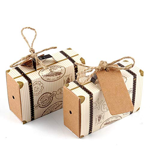 "AerWo 50pcs ""Travel Themed"" Suitcase Favor Boxes + 50pcs Tags, Vintage Kraft Favor Box Candy Gift bag for Travel Theme Party Wedding Birthday Bridal Shower ()"