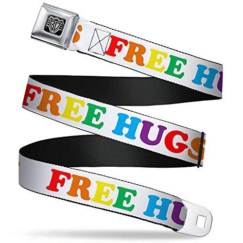 Buckle-Down Seatbelt Belt - FREE HUGS White/Multi Color - 1.5