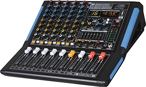Audio2000'S AMX7332-Professional Six-Channel Audio Mixer with USB Interface, Bluetooth, and DSP Sound Effects. (AMX7332) ()