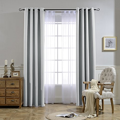 nicetown room darkening curtain window panel greyish white silver grey color solid thermal. Black Bedroom Furniture Sets. Home Design Ideas