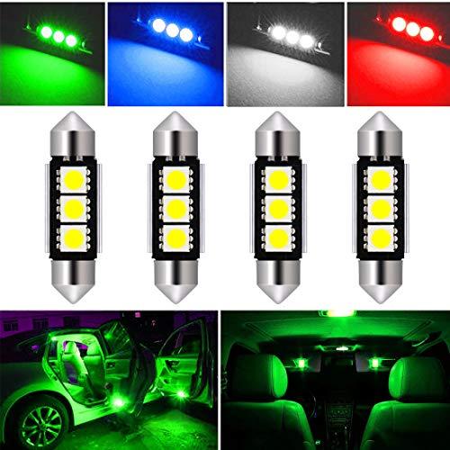 Botepon 4Pcs DE3423 6418 6411 LED Festoon Bulb 36mm 5050 3SMD Canbus Error For Car Interior Dome/Map/Trunk/License Plate Light -