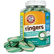 Arm & Hammer Ringers Fresh Breath Dental Treats for Dogs, Value Pack, 32 Pieces | Dental Chews Fight Bad Breath, Plaque & Tartar Without Brushing