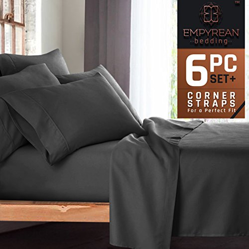 "Queen Size Bedroom (Premium 6-Piece Bed Sheet & Pillow Case Set – Luxurious & Soft Queen Size Linen, Extra Deep Pocket Super Fit Fitted Gray Sheets, Bedroom Essentials, BONUS 2 Pillowcases & ""Better Sleep Guide"")"