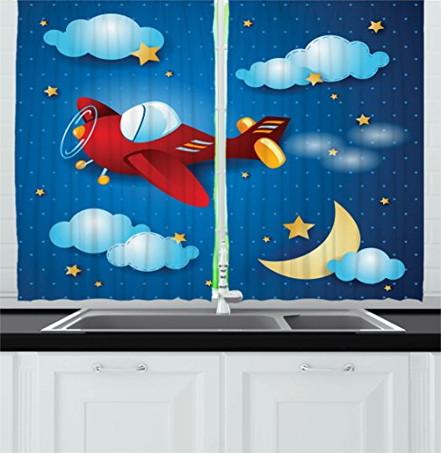 Ambesonne Kids Decor Kitchen Curtains, Cute Retro Airplane Flying at Night Sky with Moon and Stars Artisan Cartoon Print, Window Drapes 2 Panels Set for Kitchen Cafe, 55W X 39L Inches, Blue Red Review