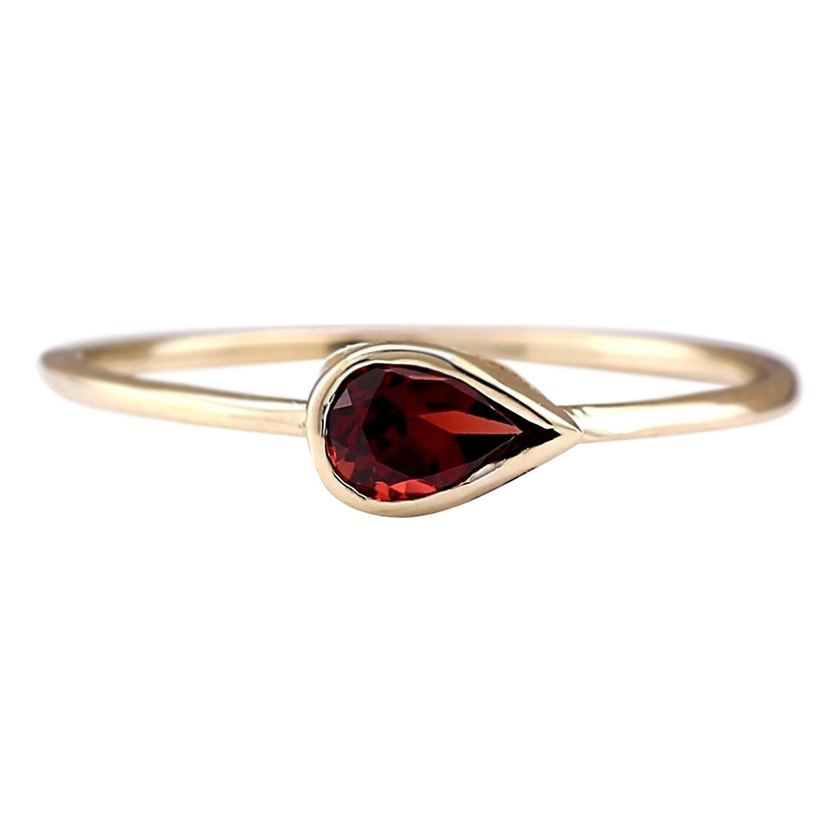 0.5 Carat Natural Red Rhodolite Garnet 14K Yellow Gold Solitaire Promise Ring for Women