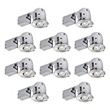 """Globe Electric 4"""" Swivel Spotlight Recessed Lighting Kit, 10-Pack, Dimmable Downlight, Round Trim, Brushed Nickel Finish, Easy Install Push-N-Click Clips 90542"""