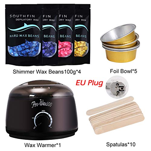 Hennta Best Gifts for Women!!! 4 Set Wax Warmer Heater Pot Machine Kit 400g Wax Beans 10pcs Pearl Light Hair Removal Wax Machine Sticks