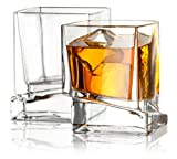 JoyJolt Carre Square Scotch Glasses, Old Fashioned Whiskey Glasses 10-Ounce, Ultra Clear Whiskey Glass for Bourbon and Liquor Set Of 2 Glassware For Sale