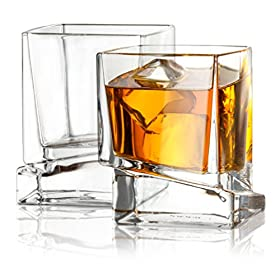 JoyJolt Carre Square Scotch Glasses, Old Fashioned Whiskey Glasses 10-Ounce, Ultra Clear Whiskey Gla