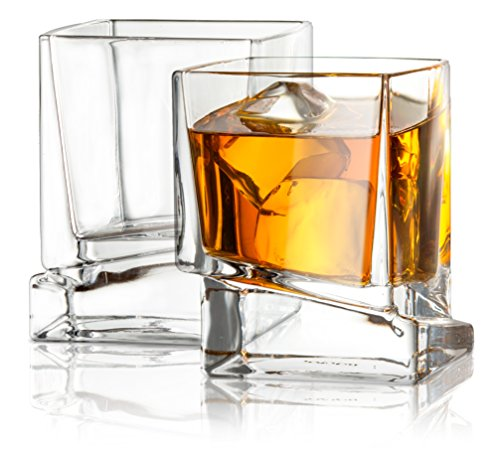 Scotch Glasses, Old Fashioned Whiskey Glasses 10-Ounce, Ultra Clear Whiskey Glass for Bourbon and Liquor Set Of 2 Glassware ()