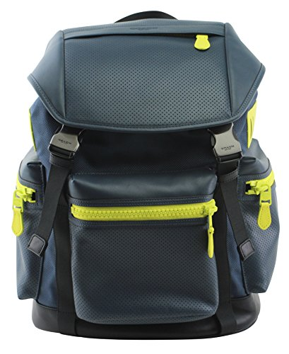 Coach Trek Travel Pack Perforated Leather Nylon Backpack, Style F20467, Dark Denim Black Bright Yellow by Coach
