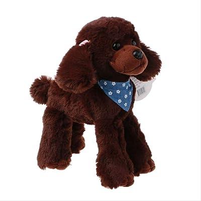 BEST9 Juguetes de Felpa Perros Poodle simulación niños Regalos muñeca rellena Bufanda Preciosa marrón Oscuro, 20 * 25cm: Juguetes y juegos