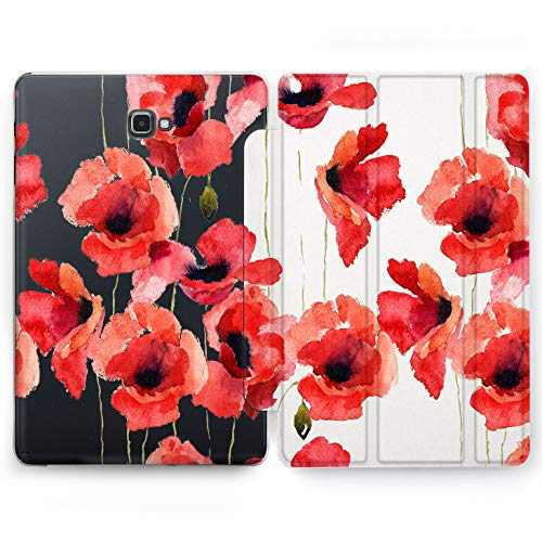 Wonder Wild Red Flower Samsung Galaxy Tab S4 S2 S3 A E Smart Stand Case 2015 2016 2017 2018 Tablet Cover 8 9.6 9.7 10 10.1 10.5 Clear Design Girly Pattern Floral Ornament Watercolor Painting Purpler (Samsung Galaxy Tab S2 Best Price)