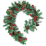 Pauwer 6 Foot Christmas Garland Wintry Pine Garland with Cones and Red Berries for Christmas Home Decoration from Pauwer