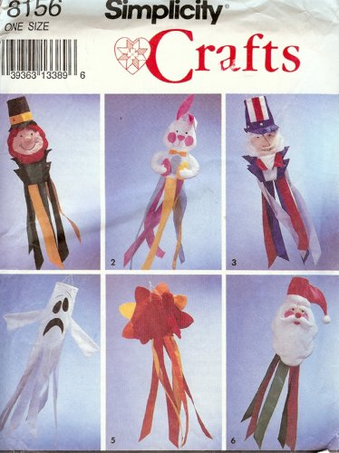 Simplicity 8156 Crafts Sewing Pattern Holiday (Halloween Windsocks Craft)