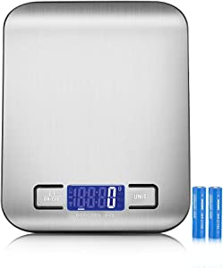 Brigtlaiff Digital Kitchen Scale, 5Kg/11Lb Mini Pocket Jewelry Scale, Cooking Food Scale with Back-Lit LCD Display, Auto Off, Tare, PCS Function, Stainless Steel - Silver