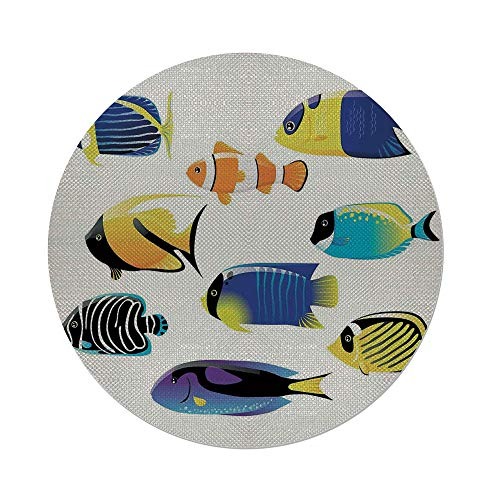 Maple Atlantic Desk (iPrint Cotton Linen Round Tablecloth,Ocean Animal Decor,Types of Sea Creature with Atlantic Cod Bonito Palette Surgeonfish Image,Multi,Dining Room Kitchen Table Cloth Cover)