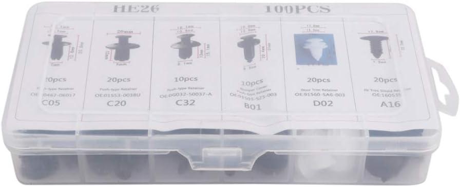 Kit de sujetadores de pl/ástico y clips de retenci/ón de coche HE26 de 100 piezas Juego de remaches de pasadores de empuje autom/ático de parachoques de nailon de 6 tipos para G-M