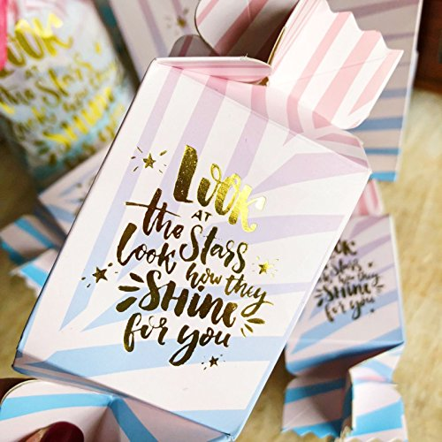 Zealax Decorative Party Favor Treat Boxes Pastel Pink Candy Shaped Shiny Gold Letters for Baby Shower,Wedding,Birthday,Holiday,6.3x2.3x2.3inch,10pcs