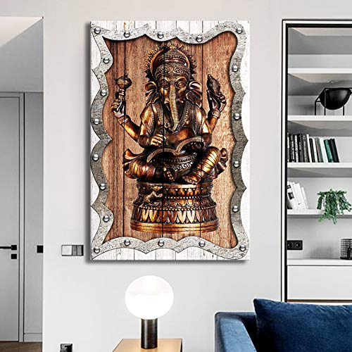 ARTLAND Hindu God Ganesha Elephant Canvas Painting for Living Room Decorative HD Canvas Print Wooden Background Modern Home Decor Bathroom Wall Art Picture Framed Ready to Hang 24x36inch