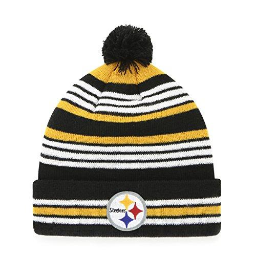 OTS NFL Pittsburgh Steelers Kid's Rickshaw Cuff Knit Cap Pom, Black, Kid's