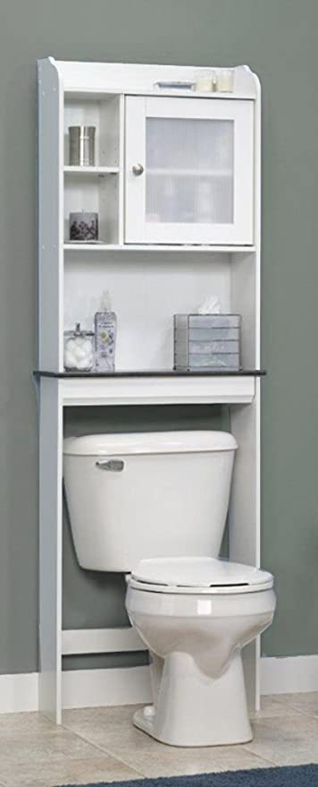 Bathroom Space Saver Over Toilet Cabinet Storage Organizer Unit 62u0026quot; H  In White Color