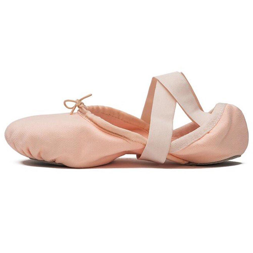 Jingsen Ballett-Trainingsschuhe Stretch Stretch Stretch Canvas Imported verbrannte Haut Schuhe weiche Stiefel (Farbe   Rosa größe   35) 561285