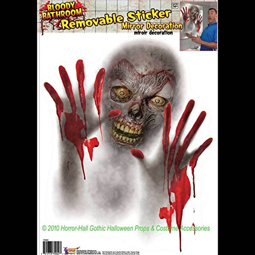[Bloody Horror Bathroom-ZOMBIE MIRROR CLING-Window Sticker Halloween Decoration] (Best 50s Costumes)