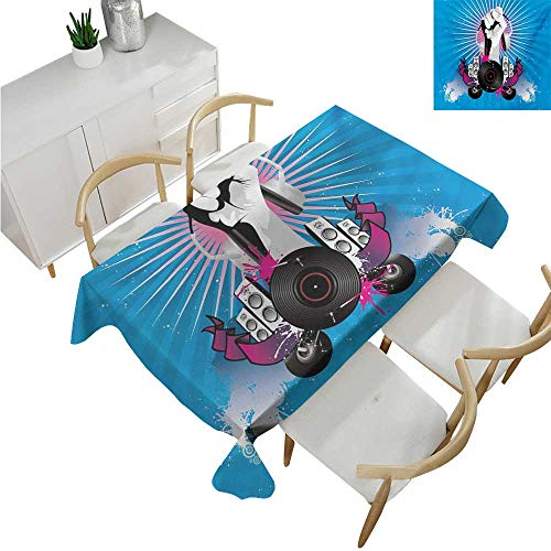 familytaste Modern,Rectangular Table Cloth,Music Elements with a Hand Holding Headphone Graffiti Style Illustration,Modern Washable Tablecovers 50