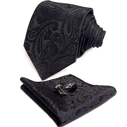CANGRON Men Black Paisley Tie Set Necktie with Pocket Square Cufflinks +Giftbox LSP8HE