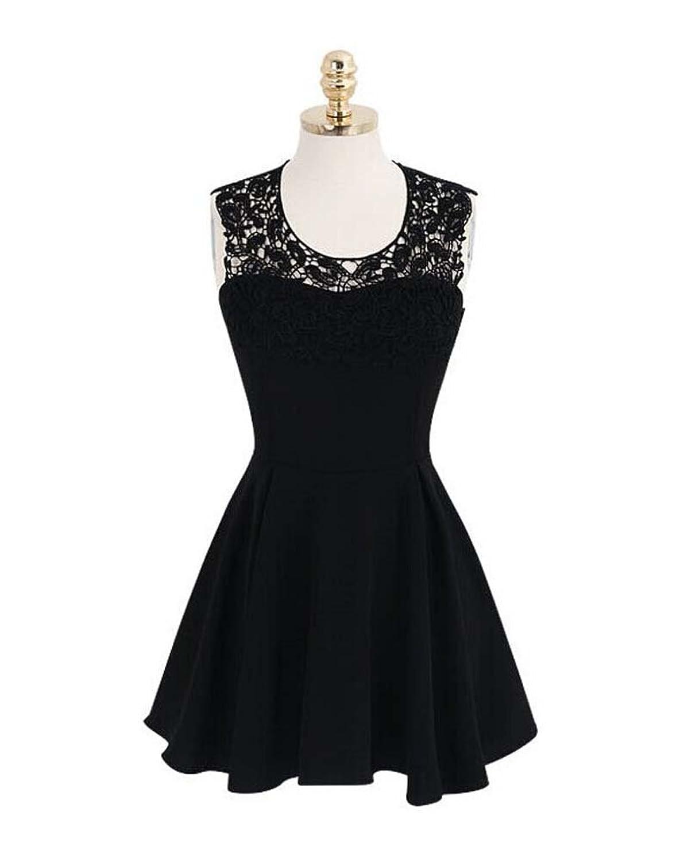 Damen durchbrochene häkeln Neckholder Neckholder-Kleid sexy rückenfreies Kleid Nachtclub-Bar