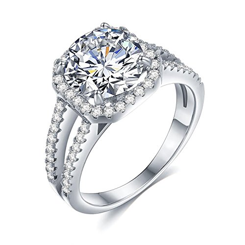 Sego Alchemy 3.00 CT. Round Cut Halo AAA Cubic Zirconia Sterling Silver-Plated Bronze Base Engagement Ring Wedding Ring Promise Ring Rings for Women Life Time Warranty for Color Changed - Alchemy Bronze New