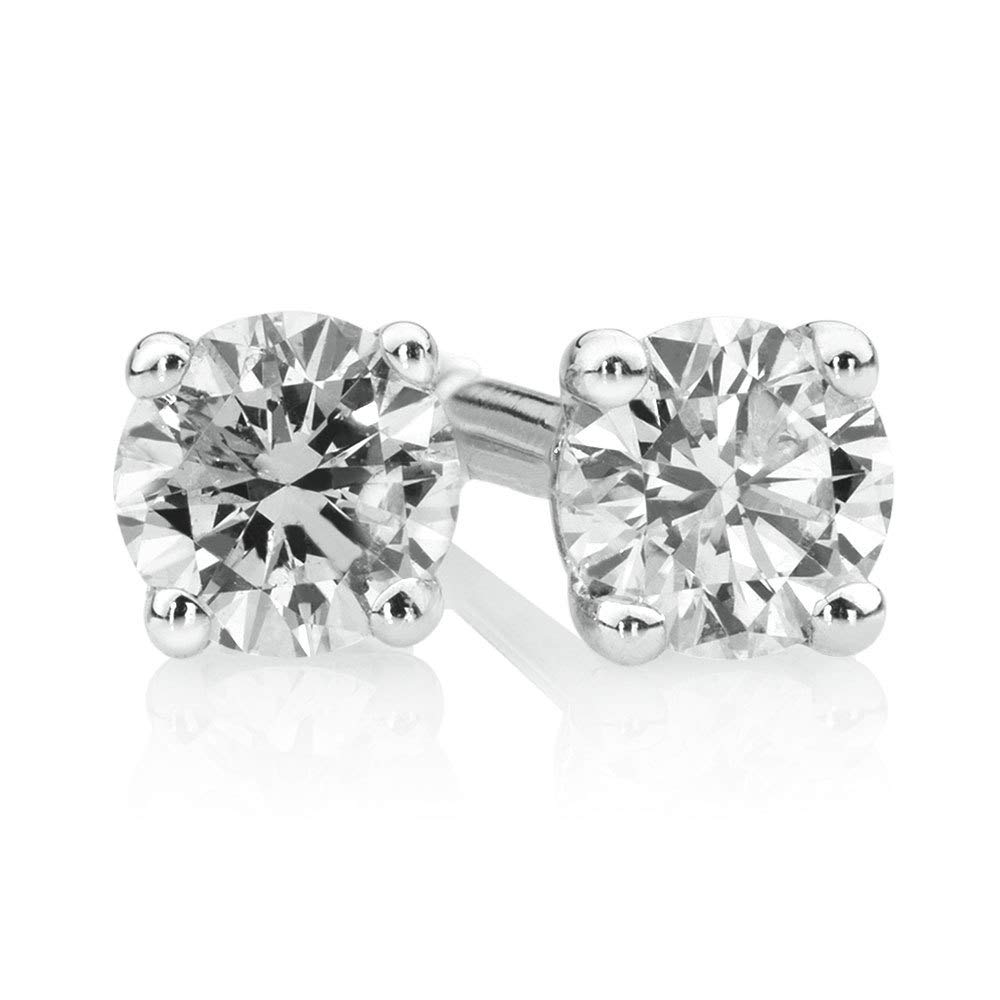 Dividiamonds Circle Stud Earrings With 0.15 Carat TW CZ Solitaire Diamonds In 10K White Gold Plated 925