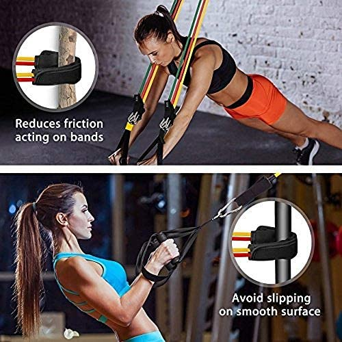 Mpow Resistance Bands Set, Resistance Bands with Handles (150LBS), 5 Stackable Exercise Bands with Door Anchor, Ankle Straps, Guide Book, Heavy Resistance Tube Bands, Portable Tube Band 6