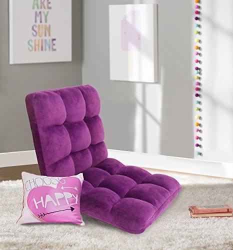 Iconic Home Daphene Adjustable Recliner Rocker Memory Foam Armless Floor Gaming Ergonomic Chair, Purple