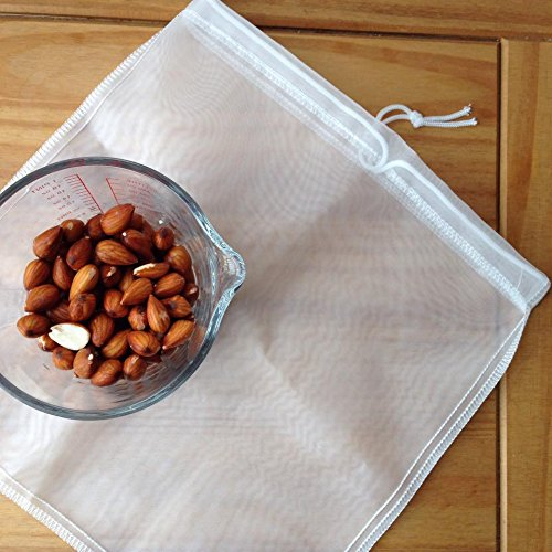2 for 1 Nut Milk Bags Pack Eco Friendly Reusable Nylon Bag for Almond Milks and Raw Juice Strainer Cold Press Coffee