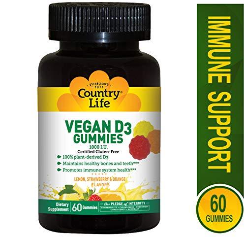 COUNTRY LIFE Vegan D3 Gummies, 60 Count