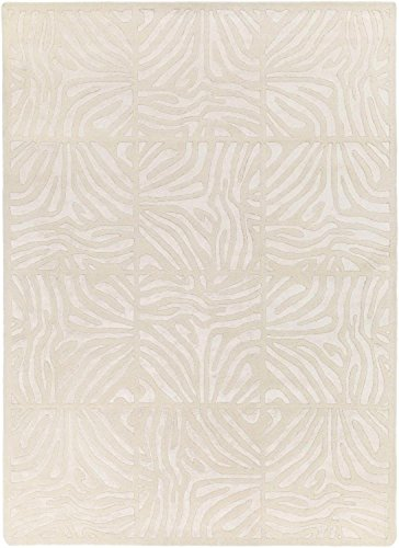 Diva At Home 3.25' x 5.25' Burchelli Zebra Chain Parchment Wool Area Throw Rug