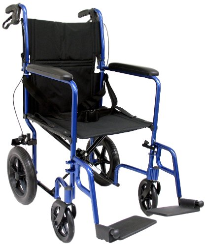 "Karman Healthcare LT-1000HB-BL Folding Aluminum Transport Chair with Companion Brakes, Blue, 19"" Seat Width"