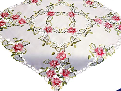 AHF Embroidered Valentines Day Pink Roses & Leaves Handcut Tablecloth (36INCH Square)