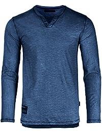 Dream Supply Mens Long Sleeve V-Neck Henley Oil Wash Contrast Seam Vintage Shirt