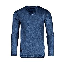 Men's Long Sleeve V-Neck Henley Oil Wash Contrast Seam Vintage Shirt