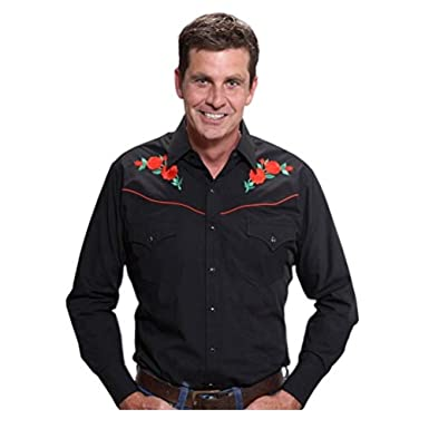 8a54cffbfb ELY CATTLEMAN Men s Embroidered Rose Design Western Shirt at Amazon Men s  Clothing store