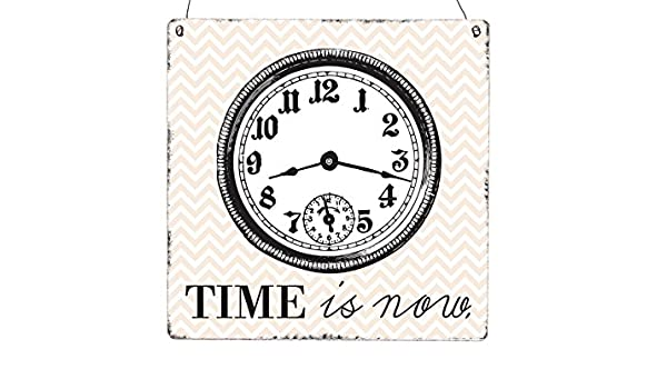 INTERLUXE Cartel de Madera XL Time IS Now Shabby Vintage ...