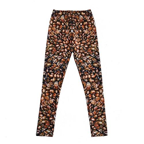 JOYHY Women's Plus Size Stretchy Digital 3D Printed Leggings Pants Coffee Bean L266